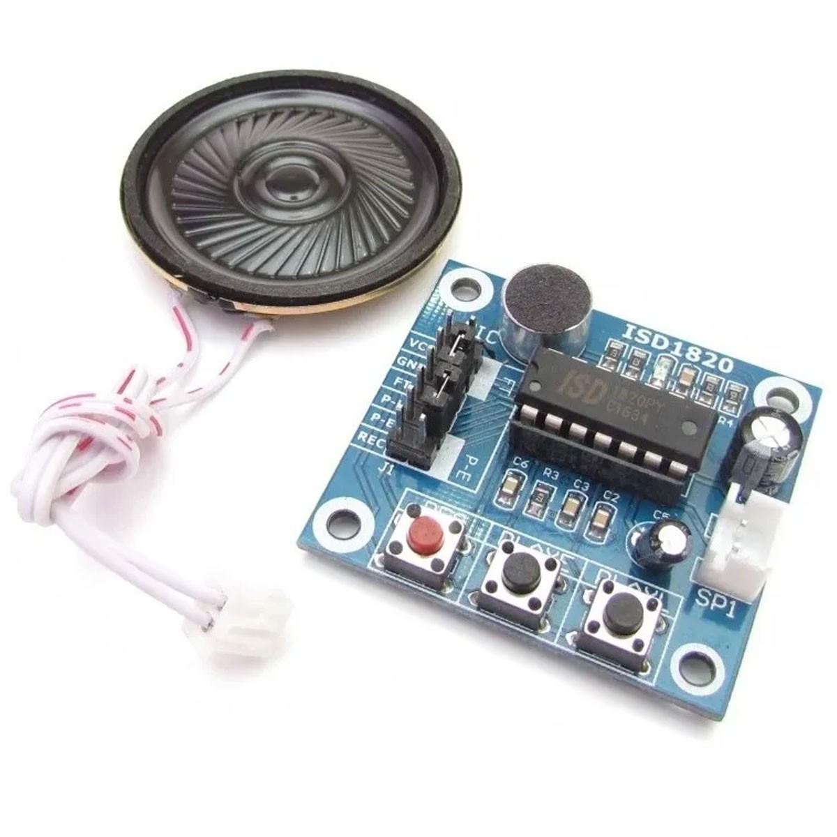 Módulo Gravador de Voz com Player e Alto-falante Isd1820