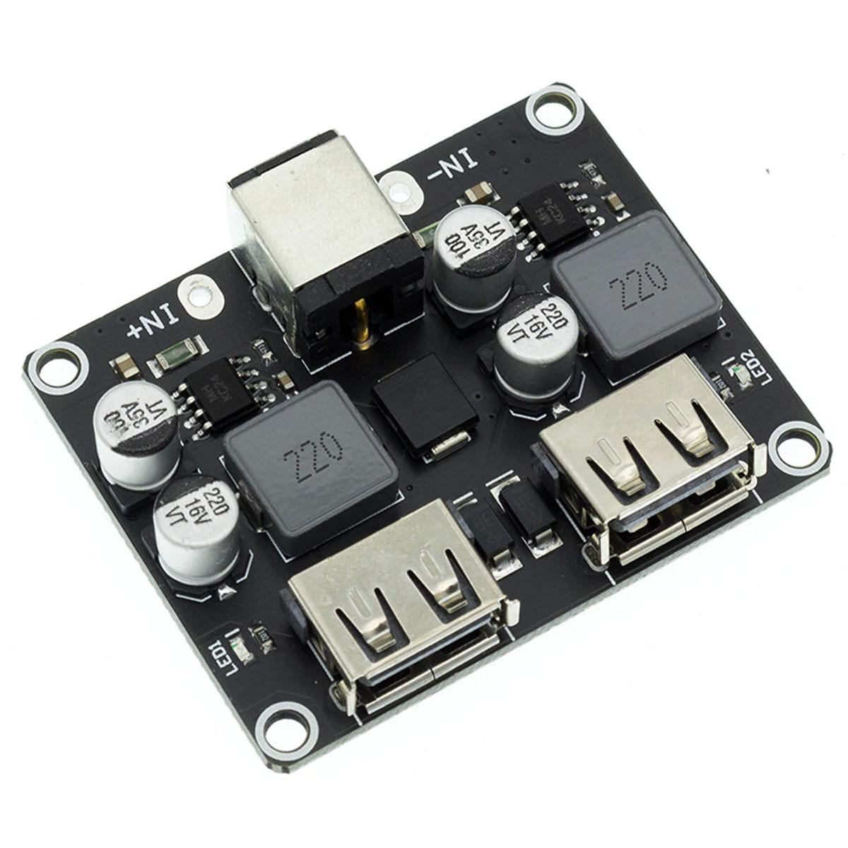 Módulo Regulador de tensão DC DC Step Down 5V p/ carregamento rápido com 2 saídas USB