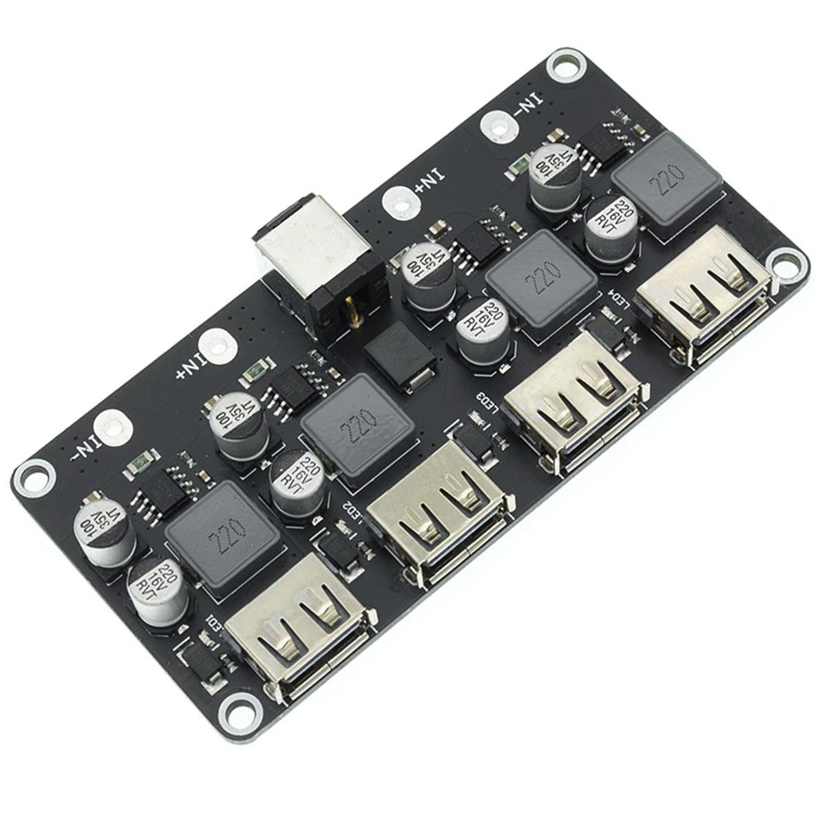 Módulo Regulador de tensão DC DC Step Down 5V p/ carregamento rápido com 4 saídas USB