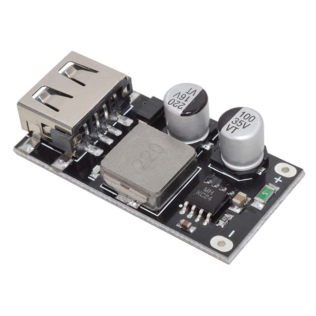 Módulo Regulador de tensão DC DC Step Down 5V p/ carregamento rápido com saída USB