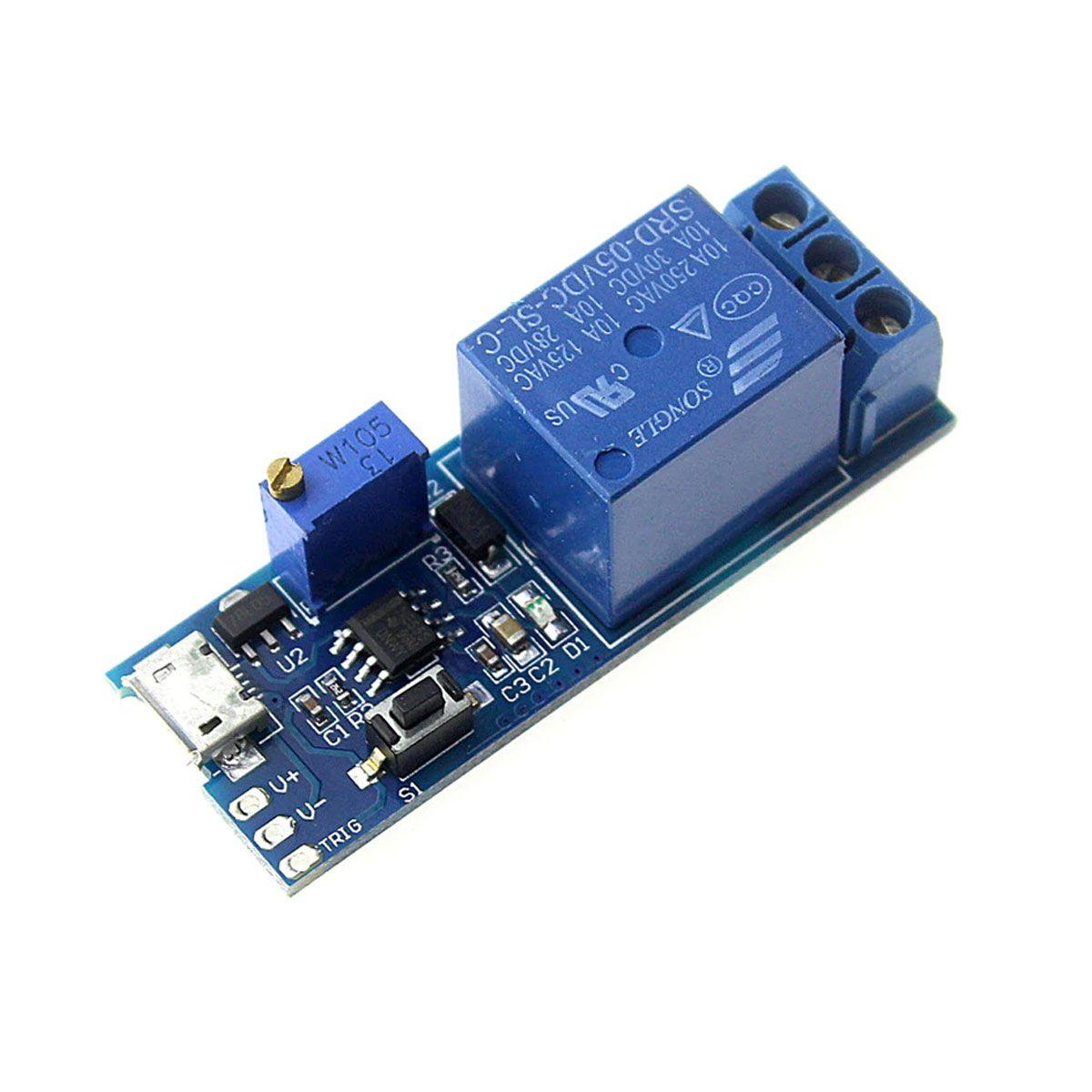 Módulo Relé Temporizador Atraso 5v à 30v Micro USB Trigger