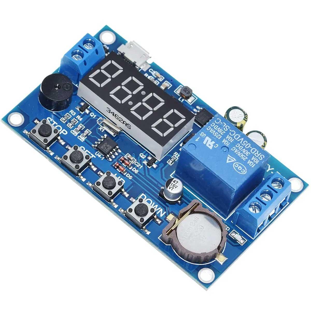 Módulo Relé Timer Temporizador Ajustável com Hora e 5 Programações com Bateria