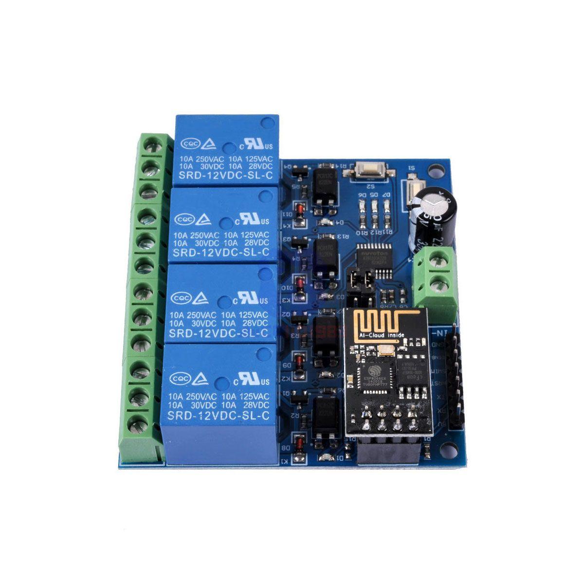 Modulo Relê Wifi 4 Canais Esp8266 Esp01 Esp8266 Esp-01 Wi-fi