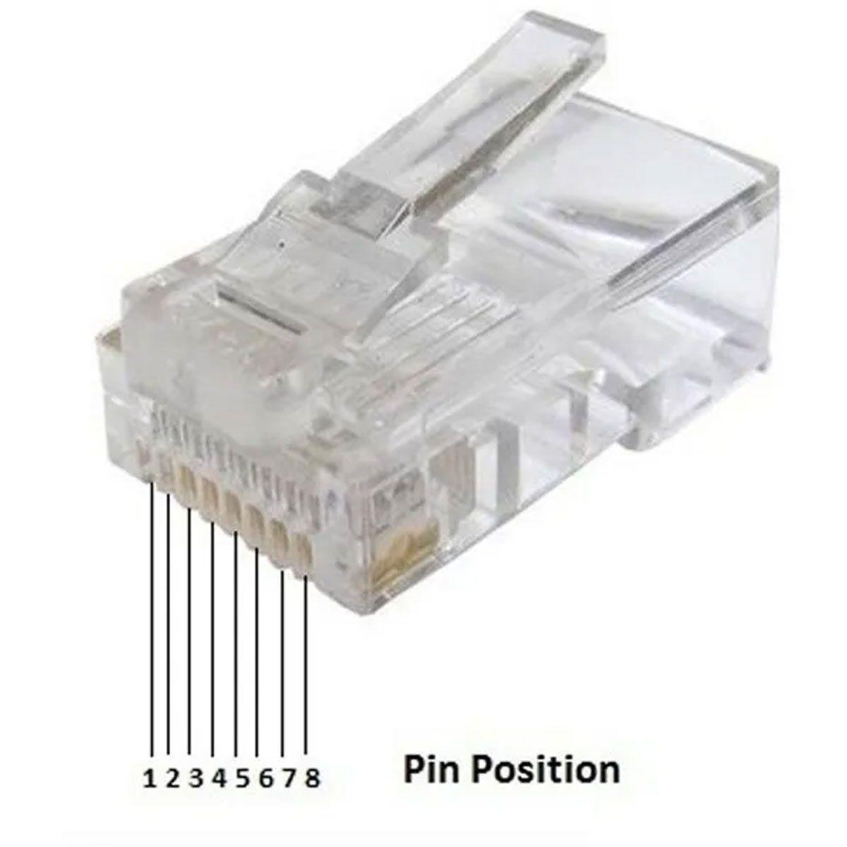 Pacote com 10 Conector Rj45 Cat5e Banho De Ouro Cabo Rede
