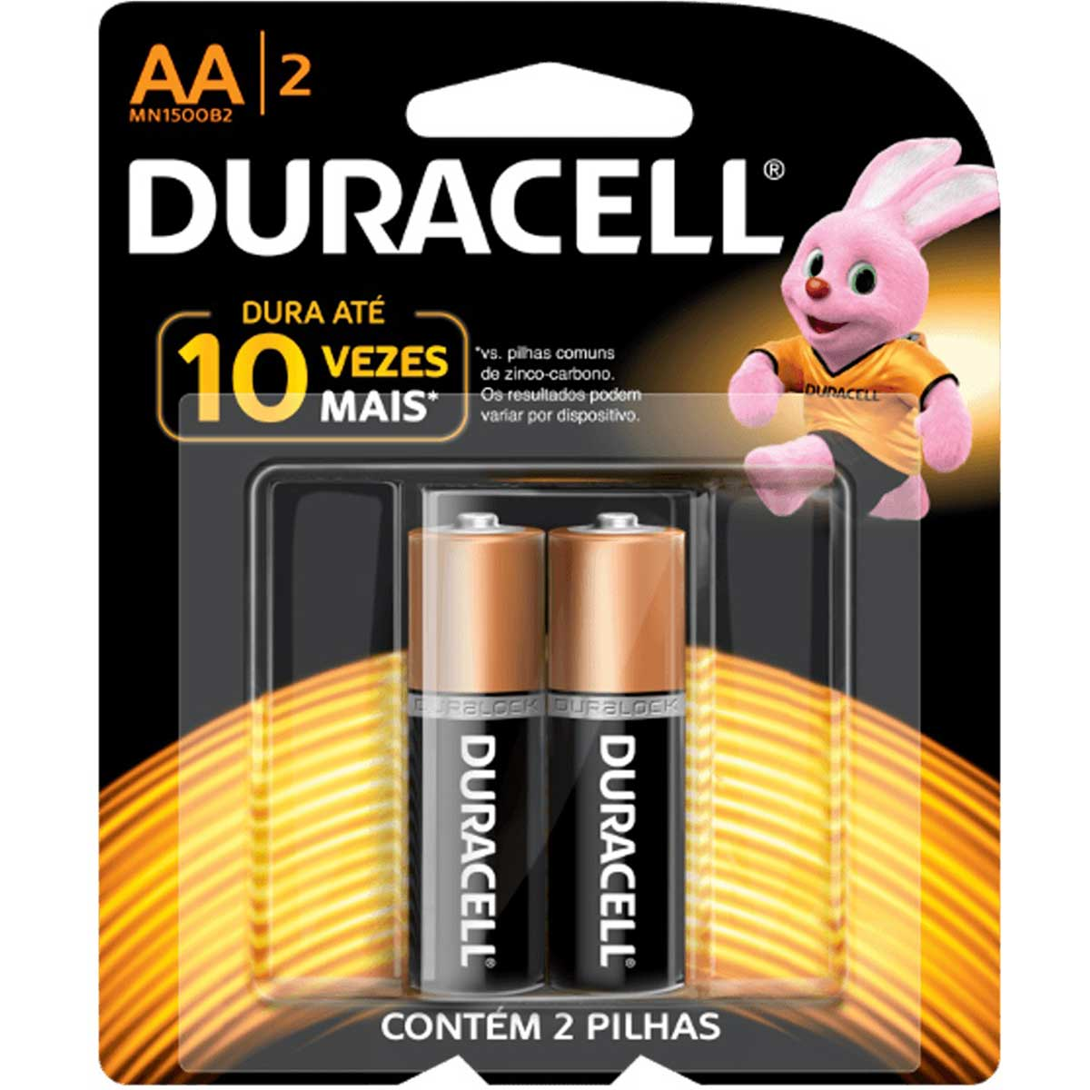 Pilha Alcalina AA Duracell Duralock  2 Unidades - Comum