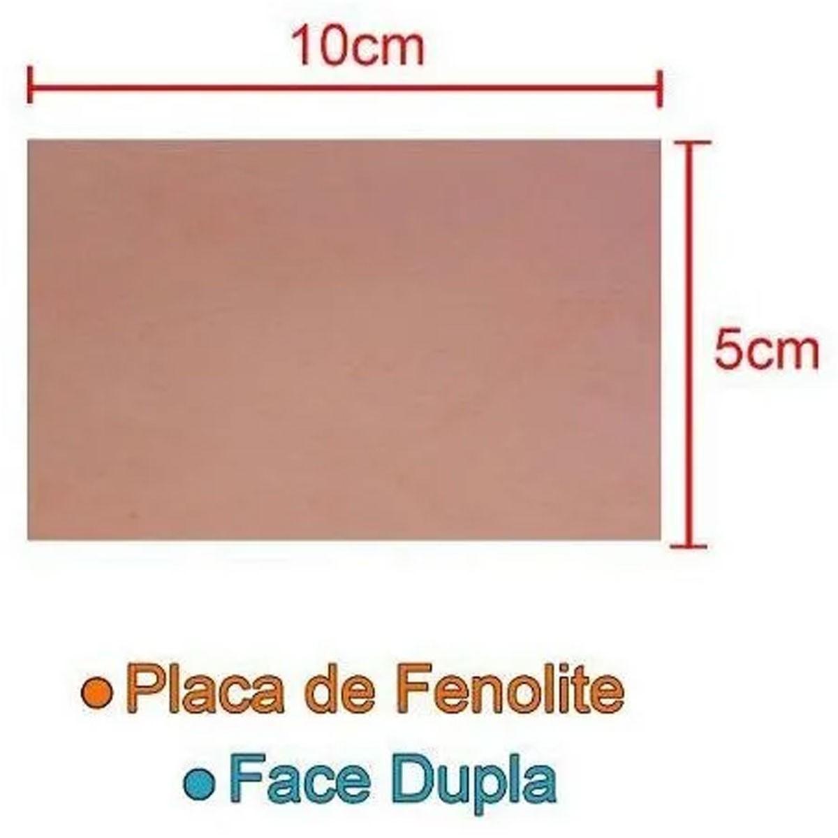 Placa De Fenolite 5x10cm Dupla Face para Circuito Impresso - PCI