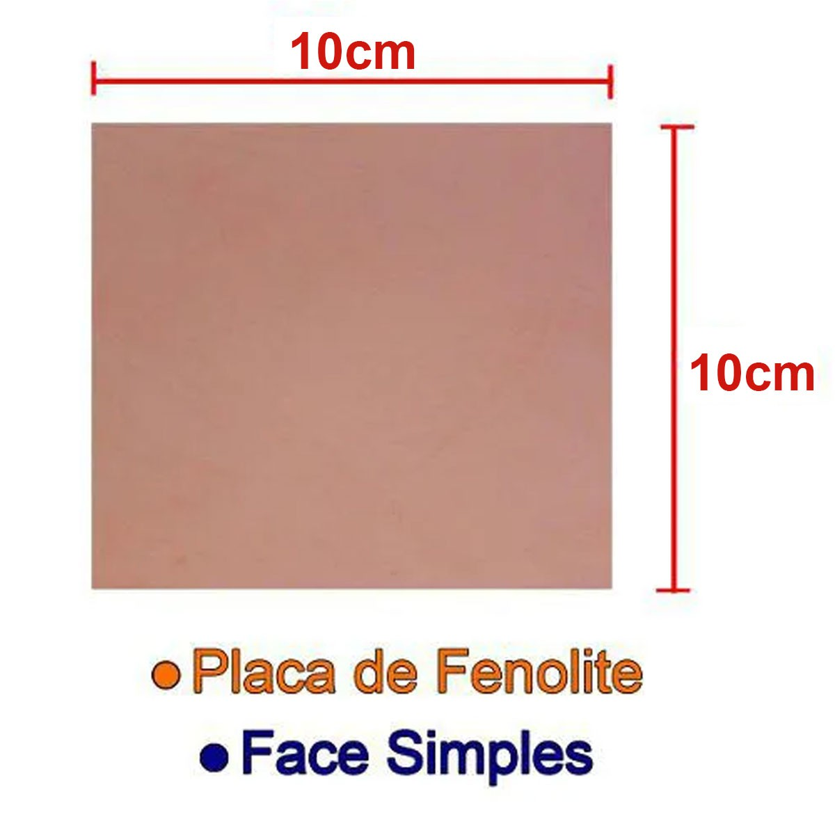 Placa de Fenolite Cobreada Simples 10x10cm para Circuito Impresso - PCI