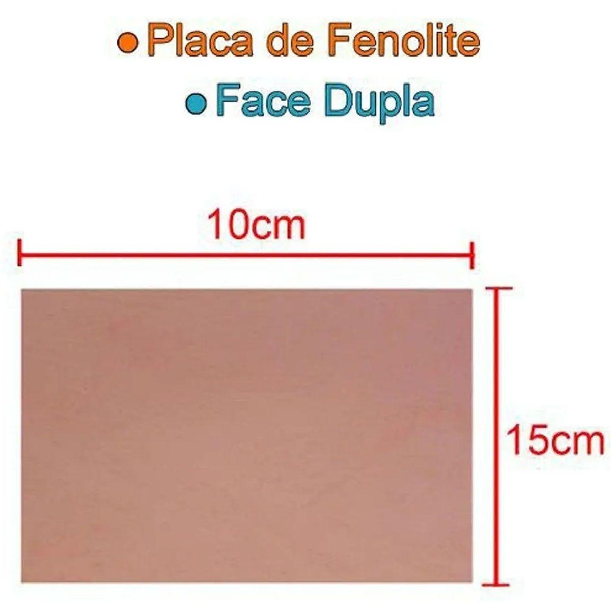 Placa de Fenolite Dupla Face 10x15cm para Circuito Impresso - PCI
