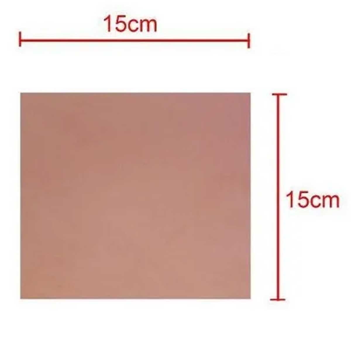 Placa de Fibra de Vidro Simples 15x15cm para Circuito Impresso - PCI