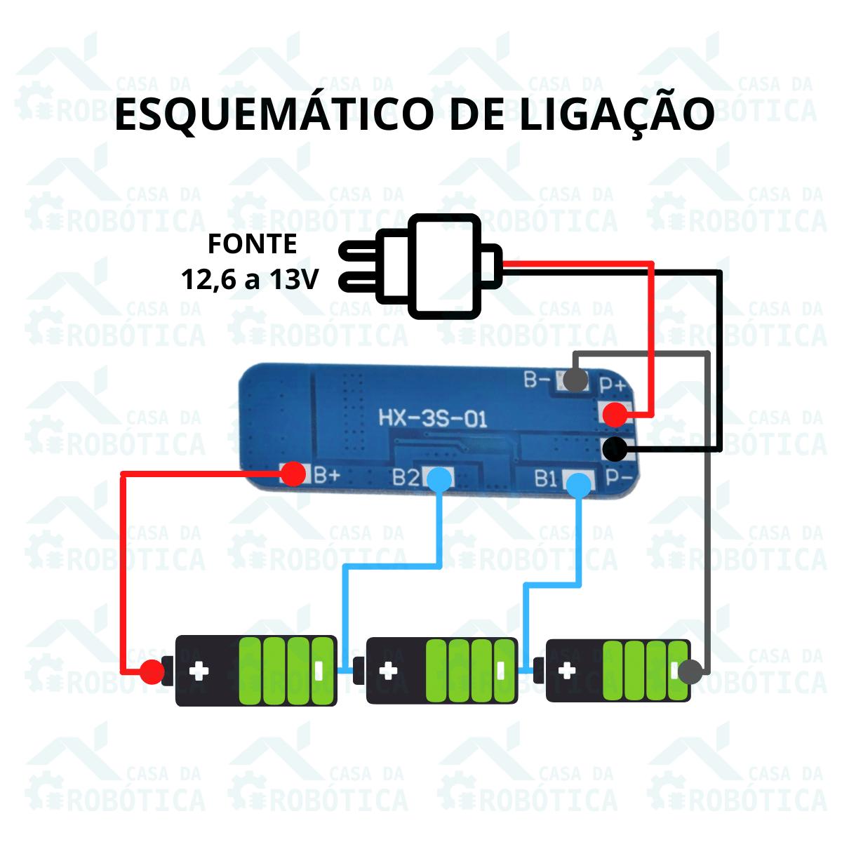 Placa de Proteção BMS 3S 10A  Carregador de Bateria de Lítio