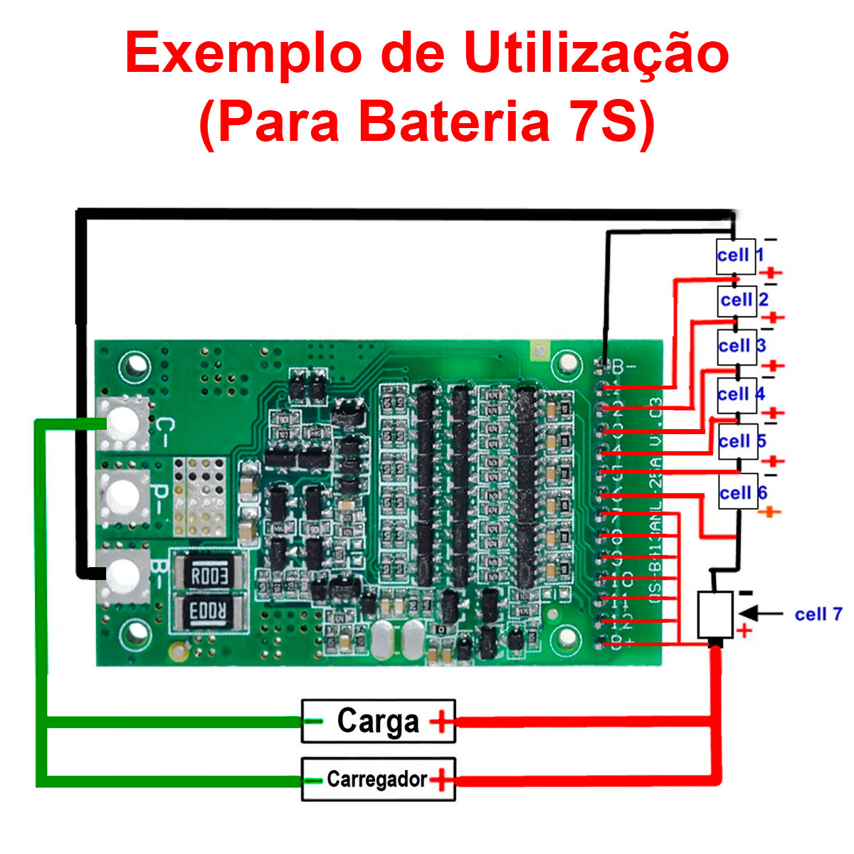 Placa / Módulo Carregador de Bateria de Lítio de 6S a 13S 25A com Proteção BMS