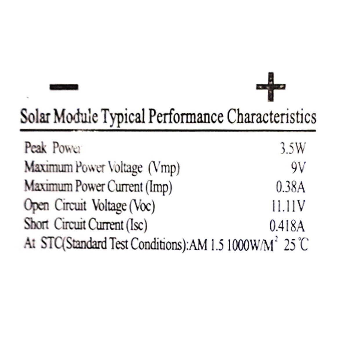 Placa Solar 9v 3.5w 0.38A com Saída P4