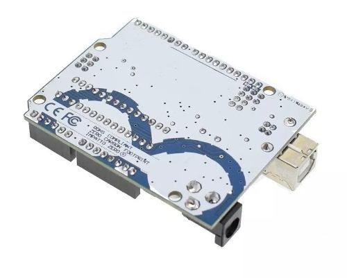 Placa Uno R3 DIP ATMEGA328 + Cabo para Arduino Uno + Case Plástico ABS Transparente