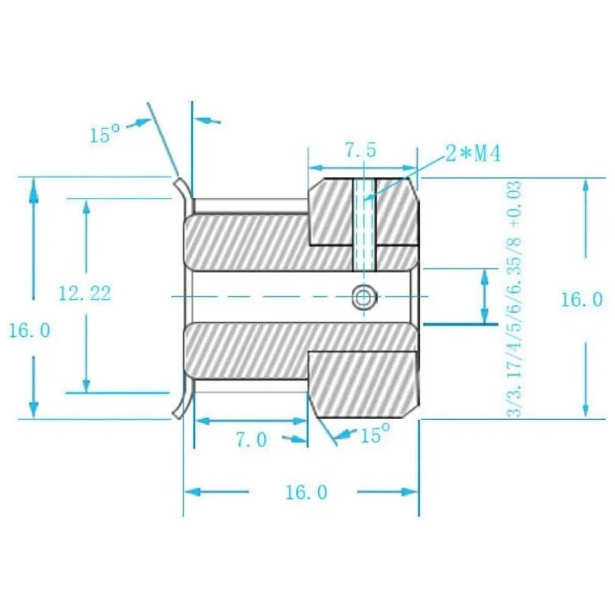 Polia GT2 5mm 20 Dentes para Impressora 3D CNC