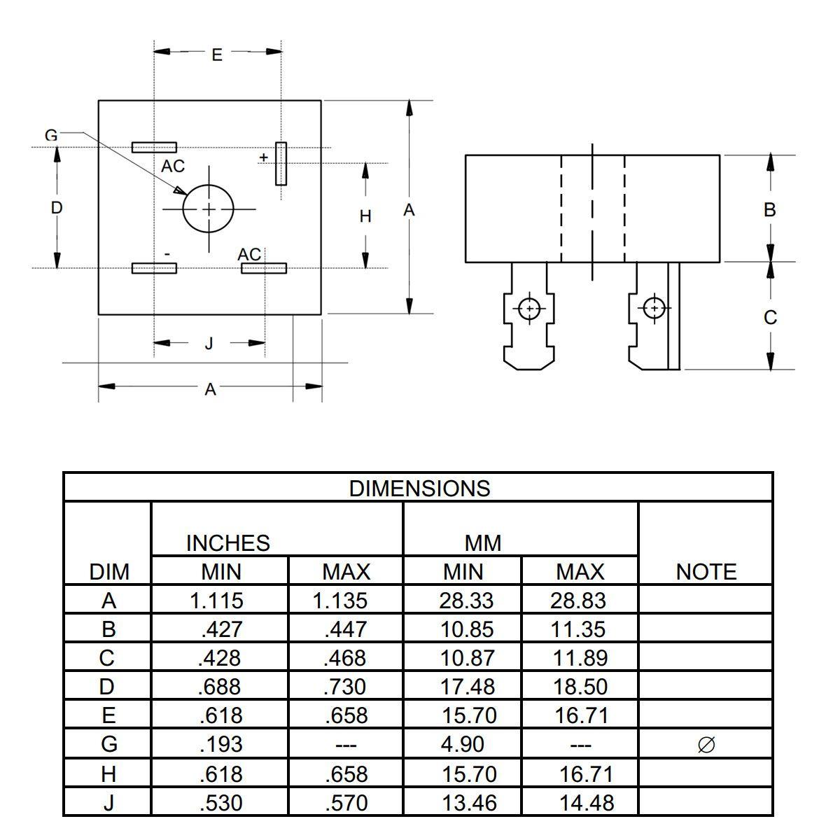 Ponte Retificadora de Diodos - KBPC5010 50A 1000V