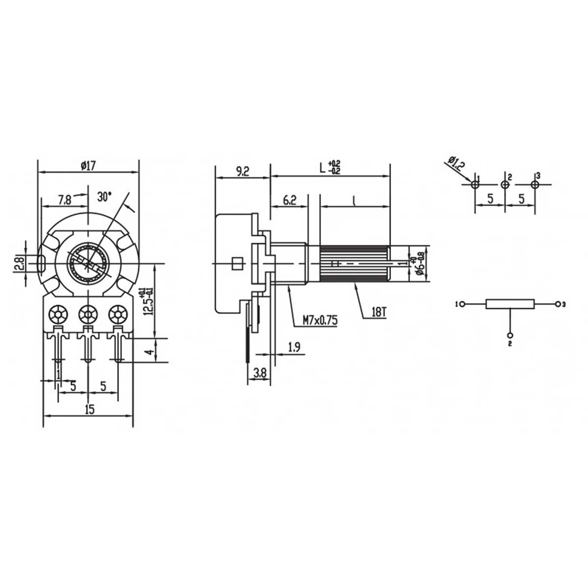 Potenciômetro 10K WH148-1-L20 3 Terminais