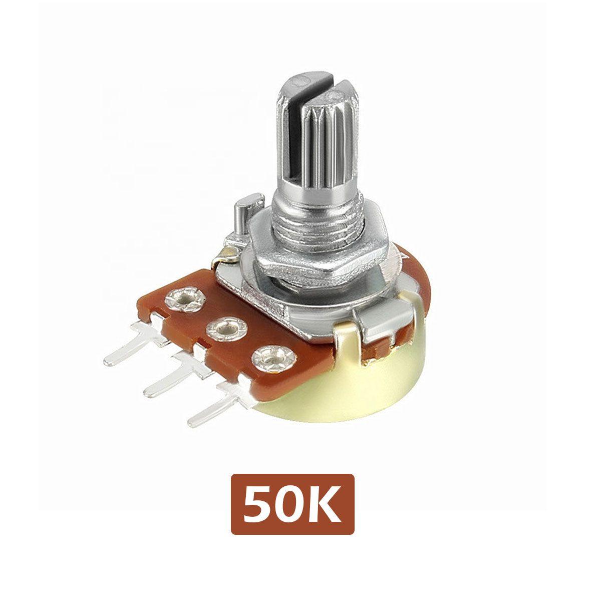 Potenciômetro 50k Linear Estriado 16.9mm Wh148 B50k