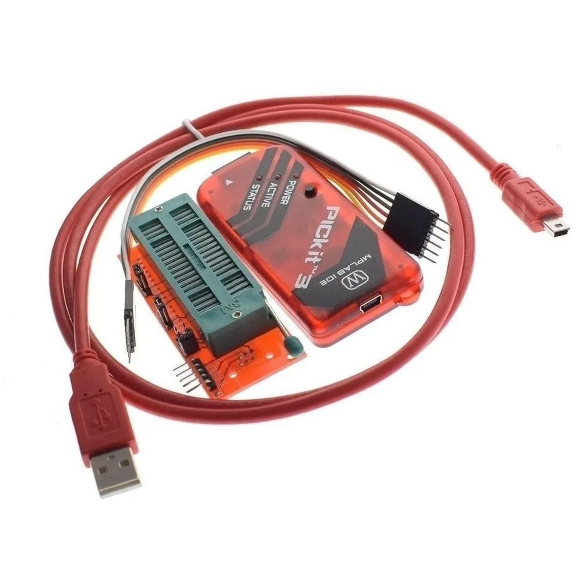 Programador Kit3 Pickit-3 Gravador de Pic + Adaptador ZIF 40 Pinos