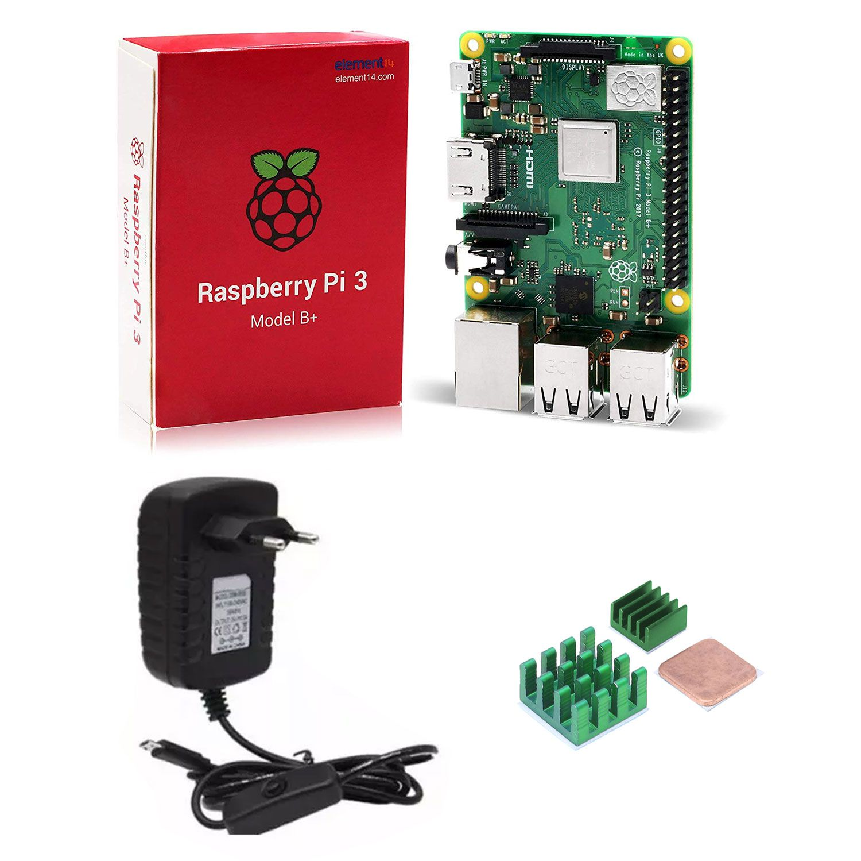 Raspberry Pi 3 B+ 1.4 Ghz 1GB de RAM + Fonte Bivolt com Botão Liga / Desliga + 3 Dissipadores de Calor