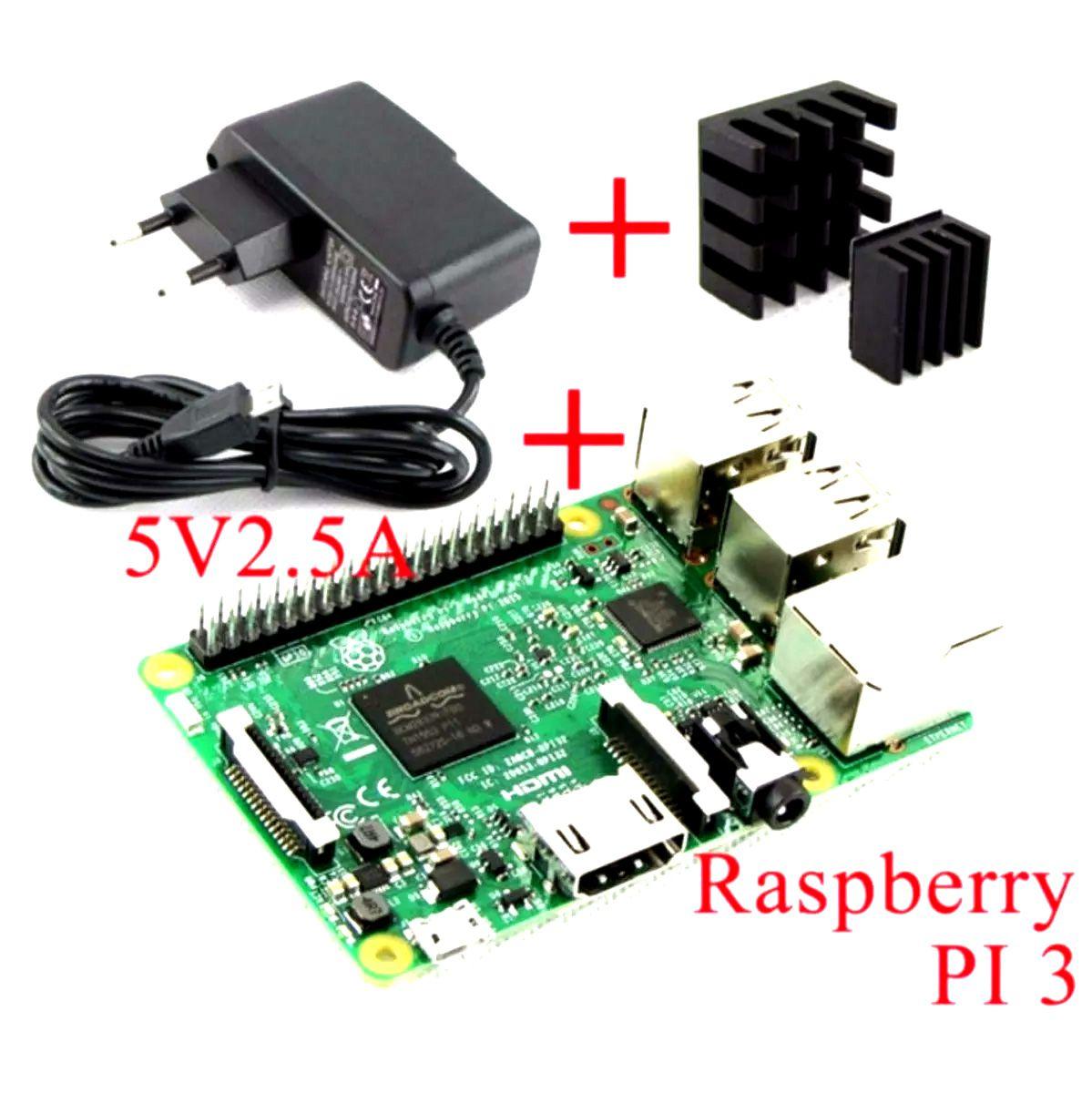 Raspberry Pi 3 Pi3 Quadcore 1.2ghz, 1 GB de RAM com Fonte e Dissipador