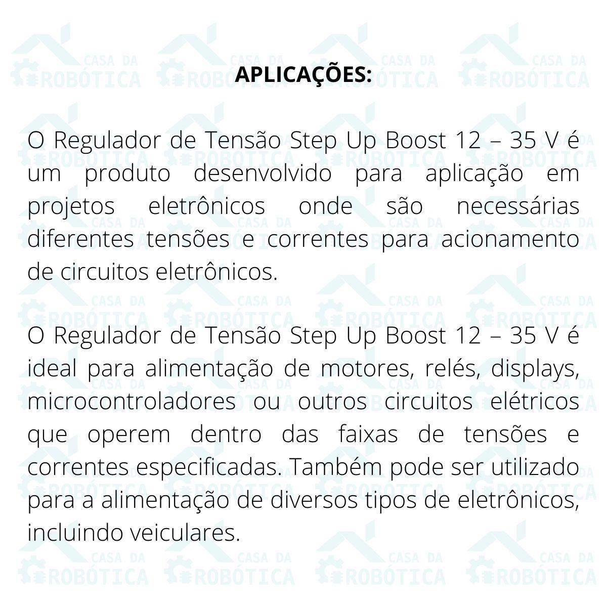 Regulador de Tensão Conversor DC Step Up 12v a 35v 150W Boost