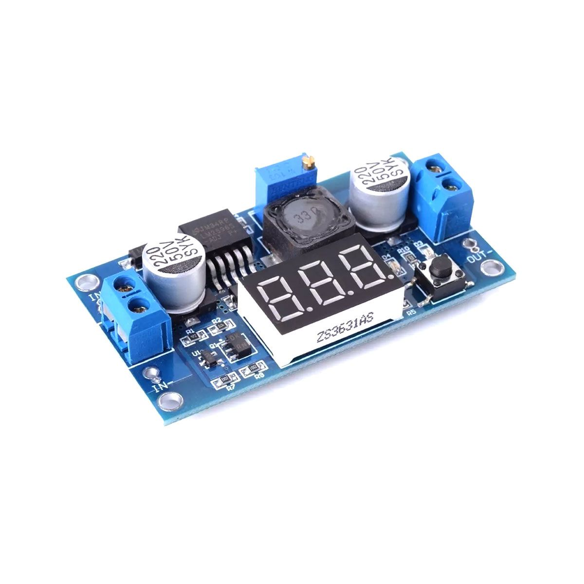Regulador de Tensão Step Down Ajustável LM2596 DC-DC com Display