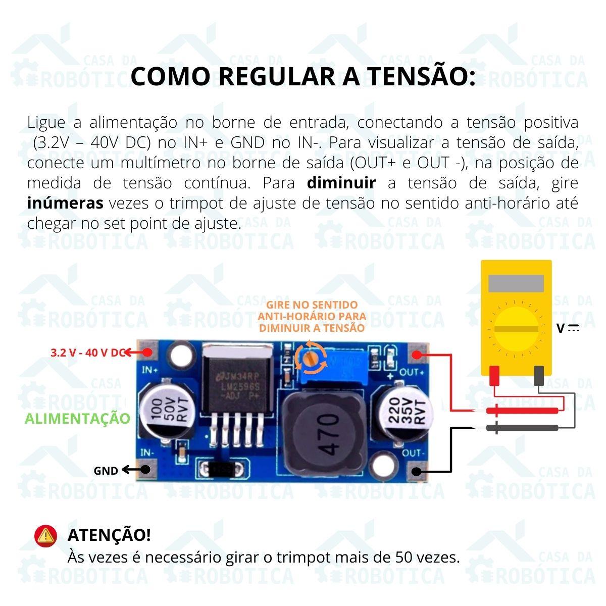 Regulador de Tensão Step Down -  Buck Conversor DC DC LM2596 3A