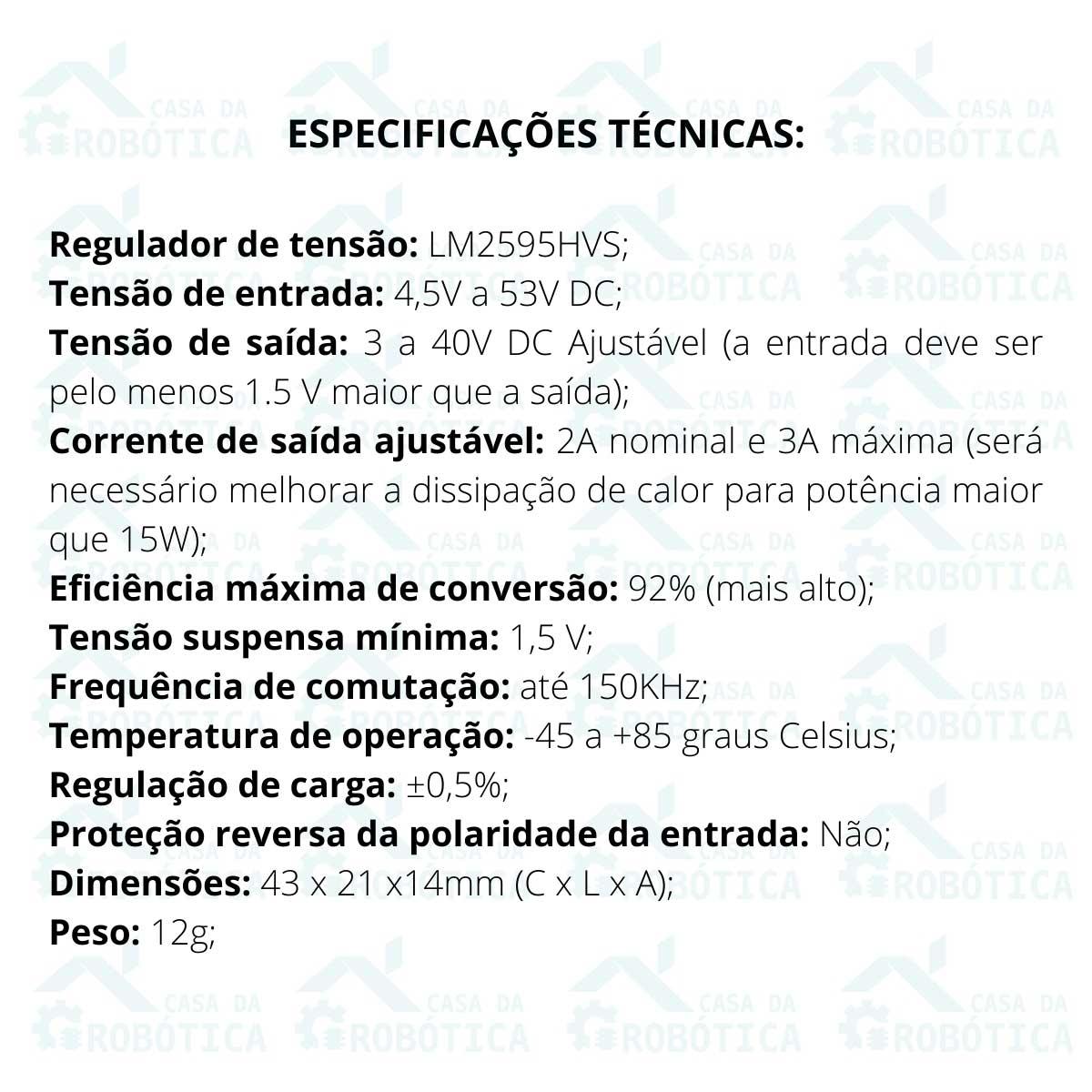 Regulador de Tensão Step Down Entrada 4,5v a 53v -  Buck Conversor DC DC LM2596HVS 3A