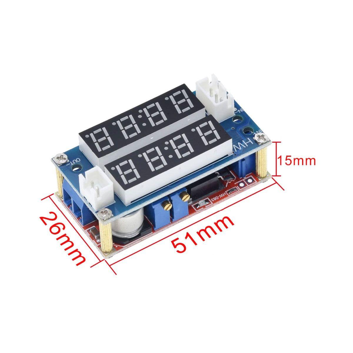 Regulador de Tensão XL4015 com Display 5A DC DC Voltímetro e Amperímetro - Step Down
