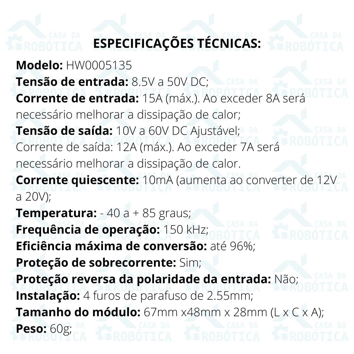 Regulador Tensão / Corrente Step Up Boost 8.5-50v P/ 10-60v 15A 400w