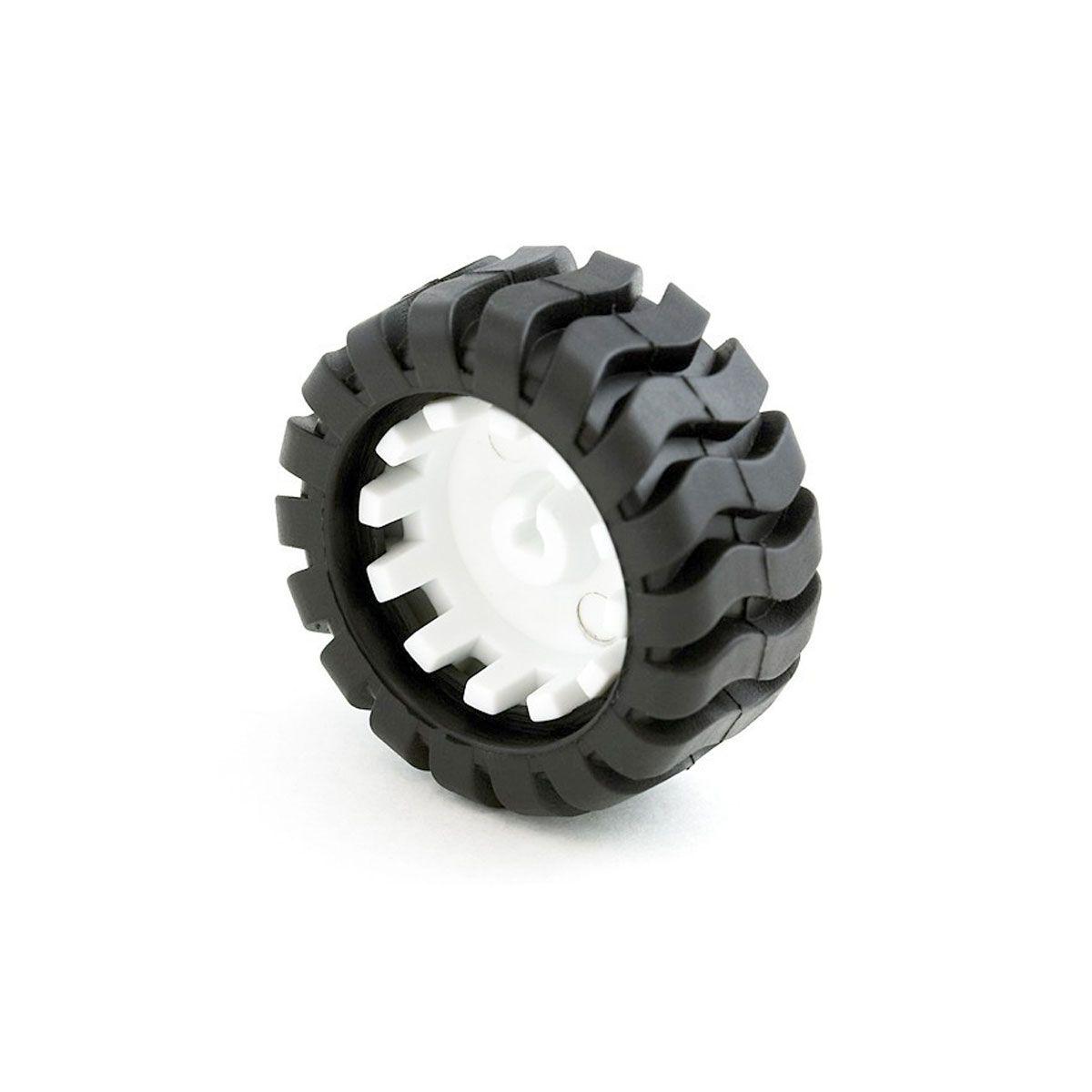 Roda com Pneu de Borracha 43mm de Diâmetro   19mm de espessura e 3mm de furo no eixo. Compatível com Motores N20