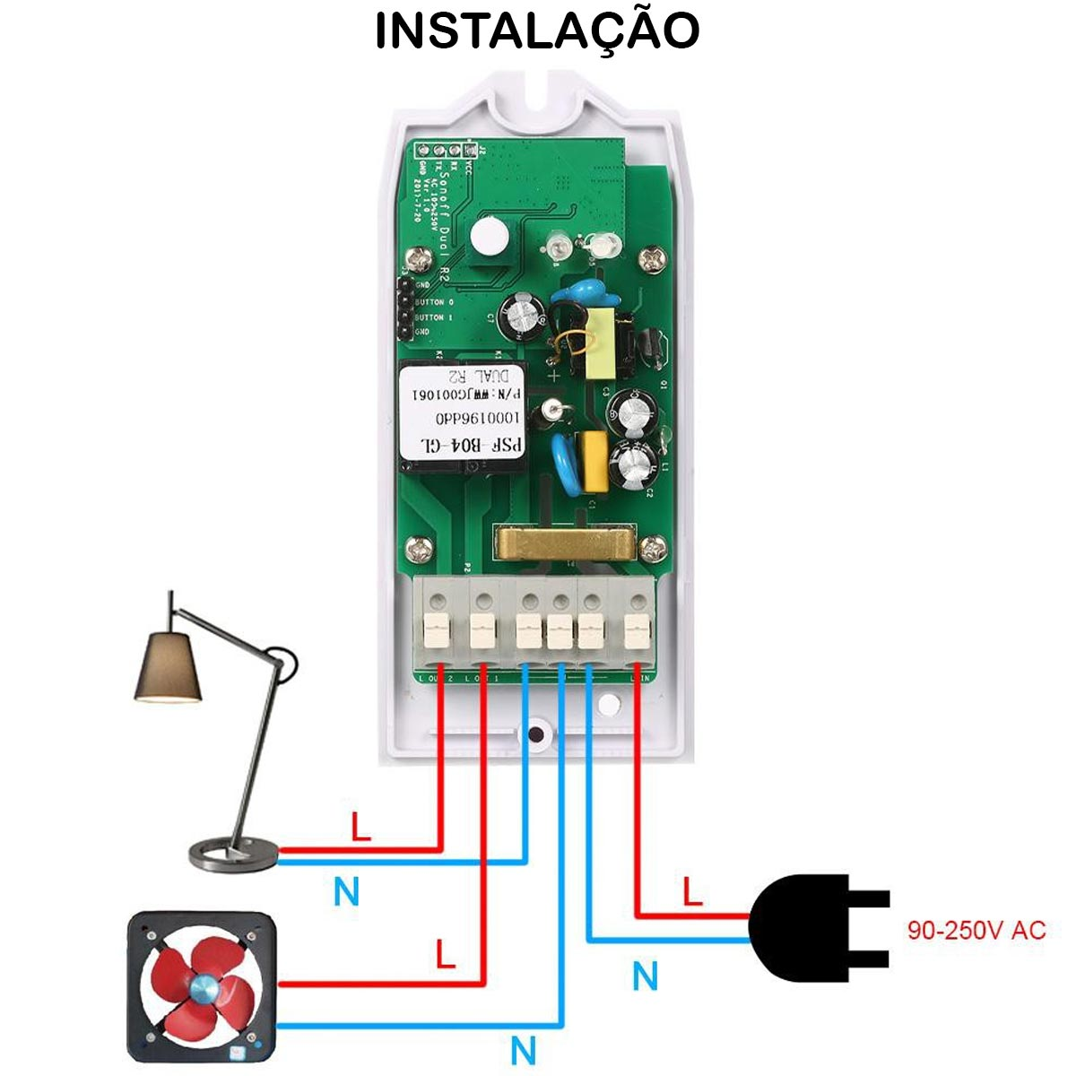 Sonoff Dual R2 Interruptor Wifi 2 Canais Android Ios compatível Alexa Google Home