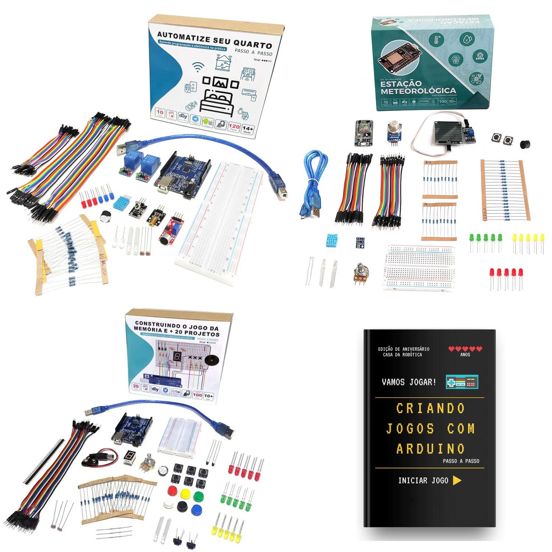Super Combo Kit: 1x Kit Iniciante jogo da Memória + 1x Kit Automatize seu Quarto + Kit Iot + Livro de Brinde
