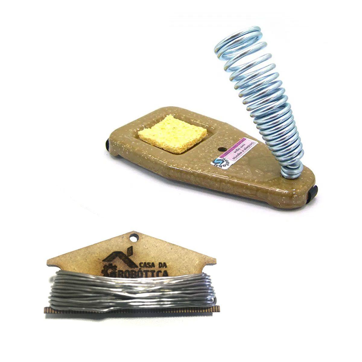 Suporte para Ferro de Solda com Esponja Vegetal + 4 metros de Estanho 1mm