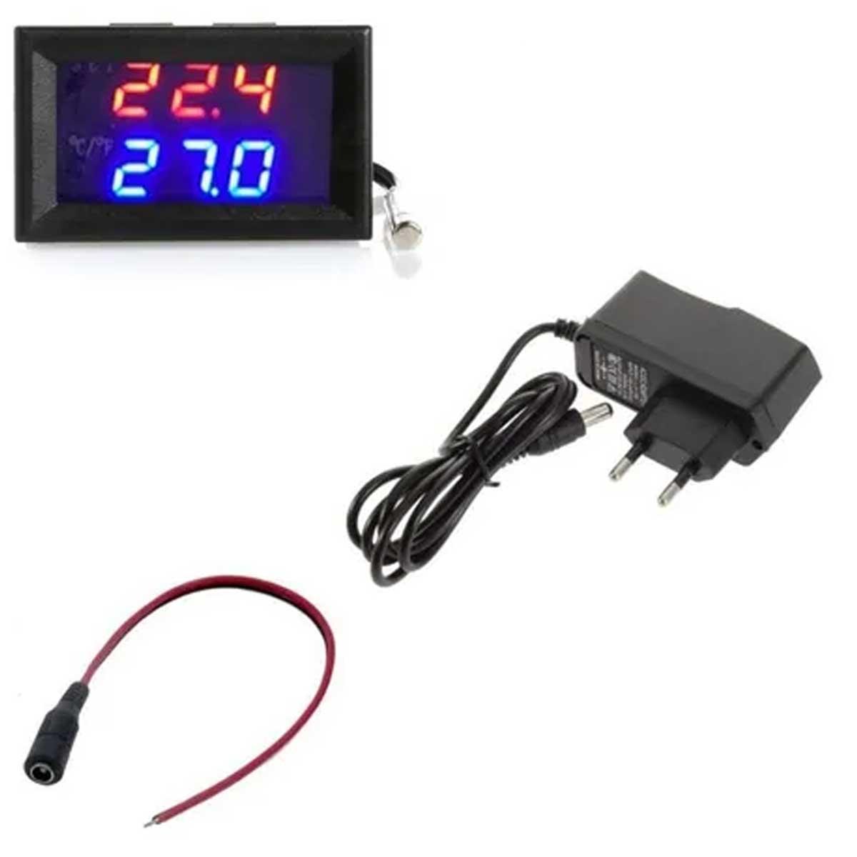Termostato Display W1209 para Controle de Temperatura + Fonte 12v + Rabicho para Fonte