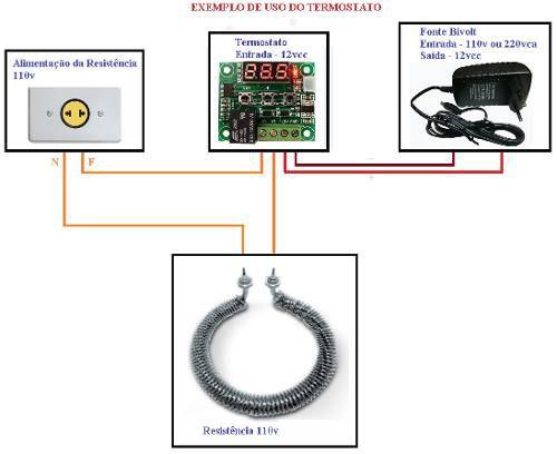 Termostato para Controle de Temperatura W1209 + Fonte 12v Chaveada + Rabicho para Fonte