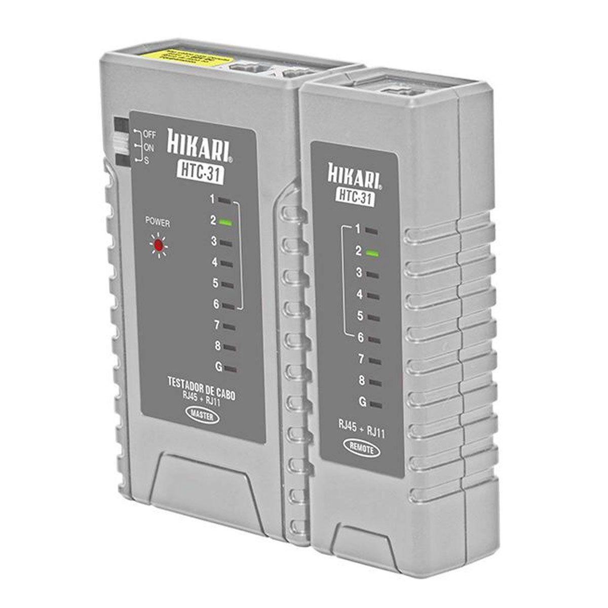Testador de cabos RJ45 e RJ11- Hikari HTC-31