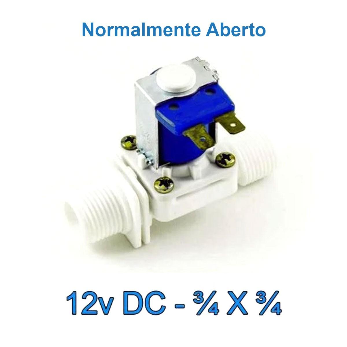 Válvula Solenoide Normalmente Aberta 12v DC 180° (3/4 X 3/4) VA 04