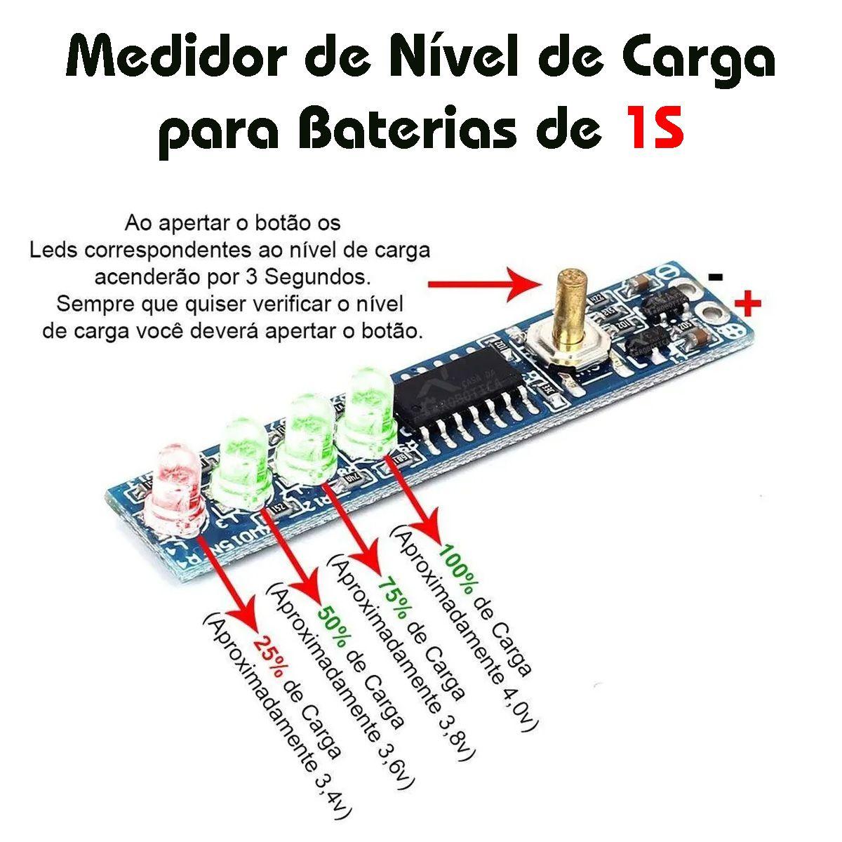 Voltímetro Indicador de Nível de Carga para Baterias 1S 4,2V