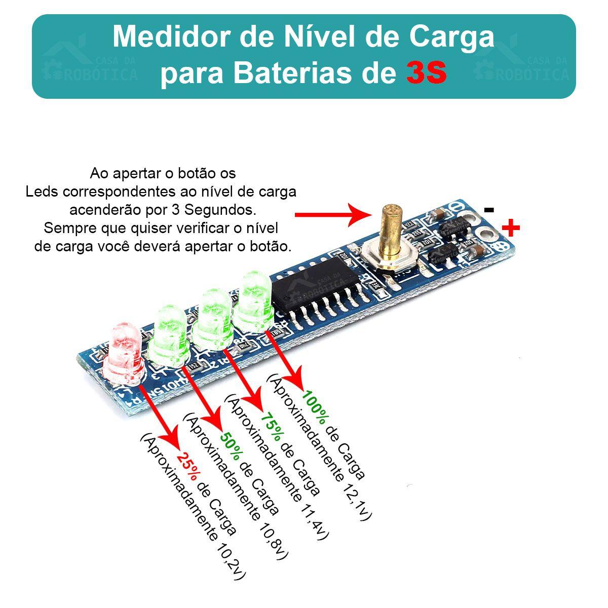 Voltíimetro Indicador de Nível de Carga para Baterias 3S 12,6V