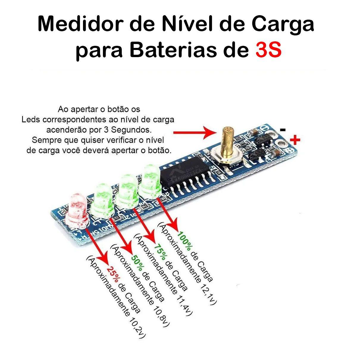 Voltímetro Indicador de Nível de Carga para Baterias 3S 12,6V