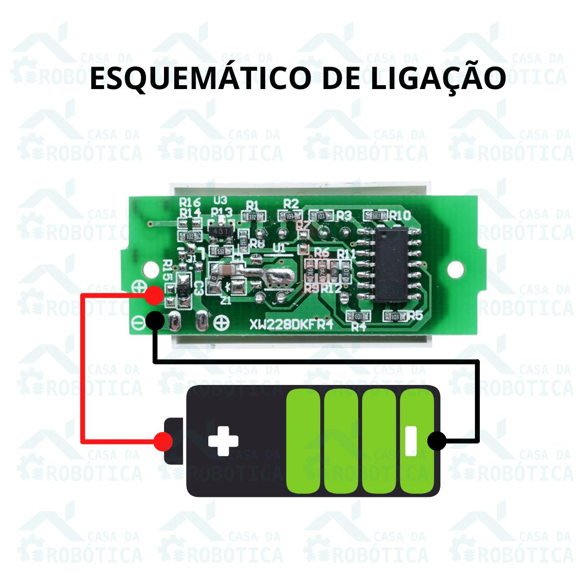 Voltímetro com Display Indicador de Nível de Carga para Baterias 1S 4,2V
