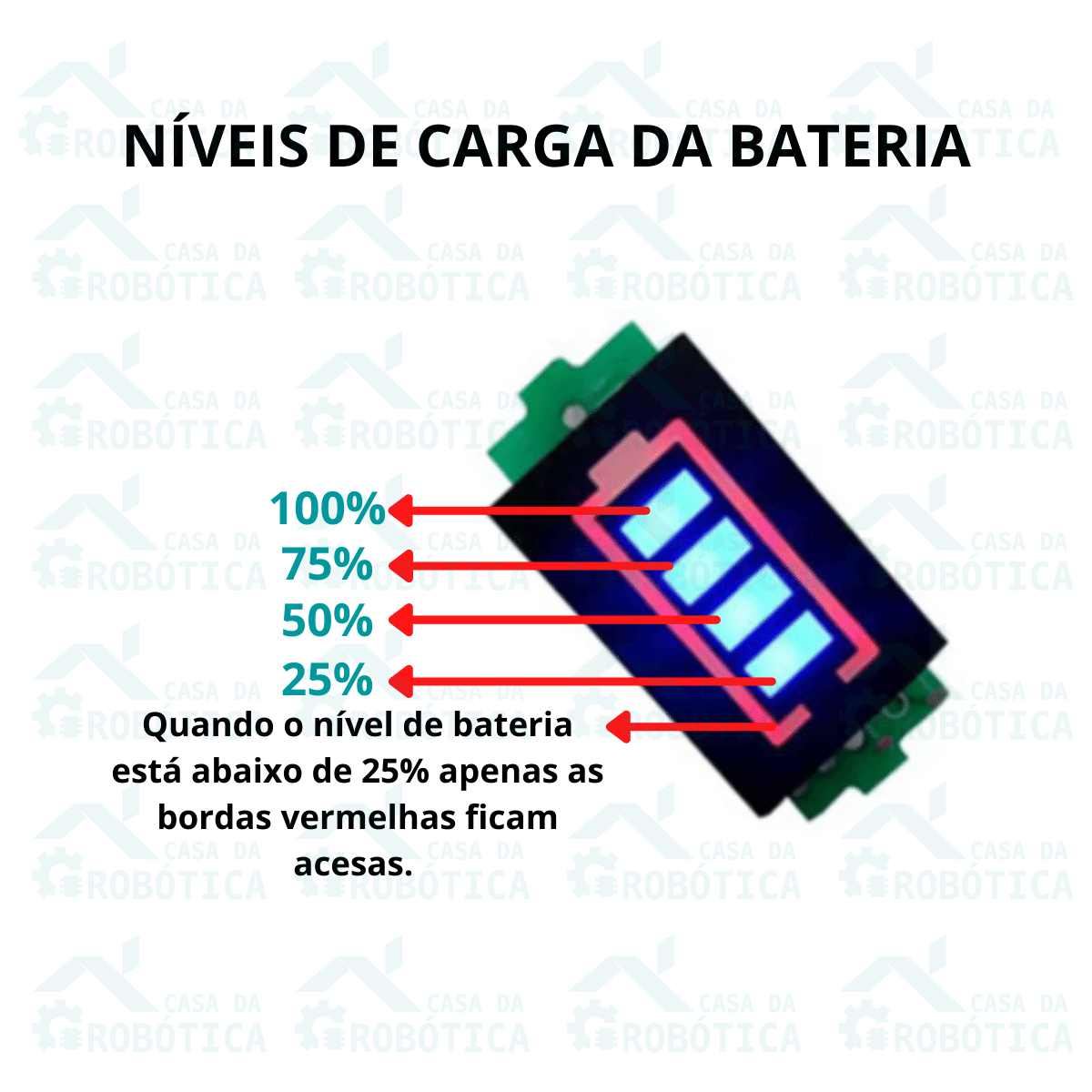 Voltímetro com Display Indicador de Nível de Carga para Baterias 2S 8,4V