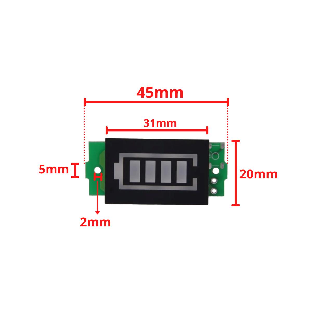 Voltímetro com Display Indicador de Nível de Carga para Baterias 4S 16,8V