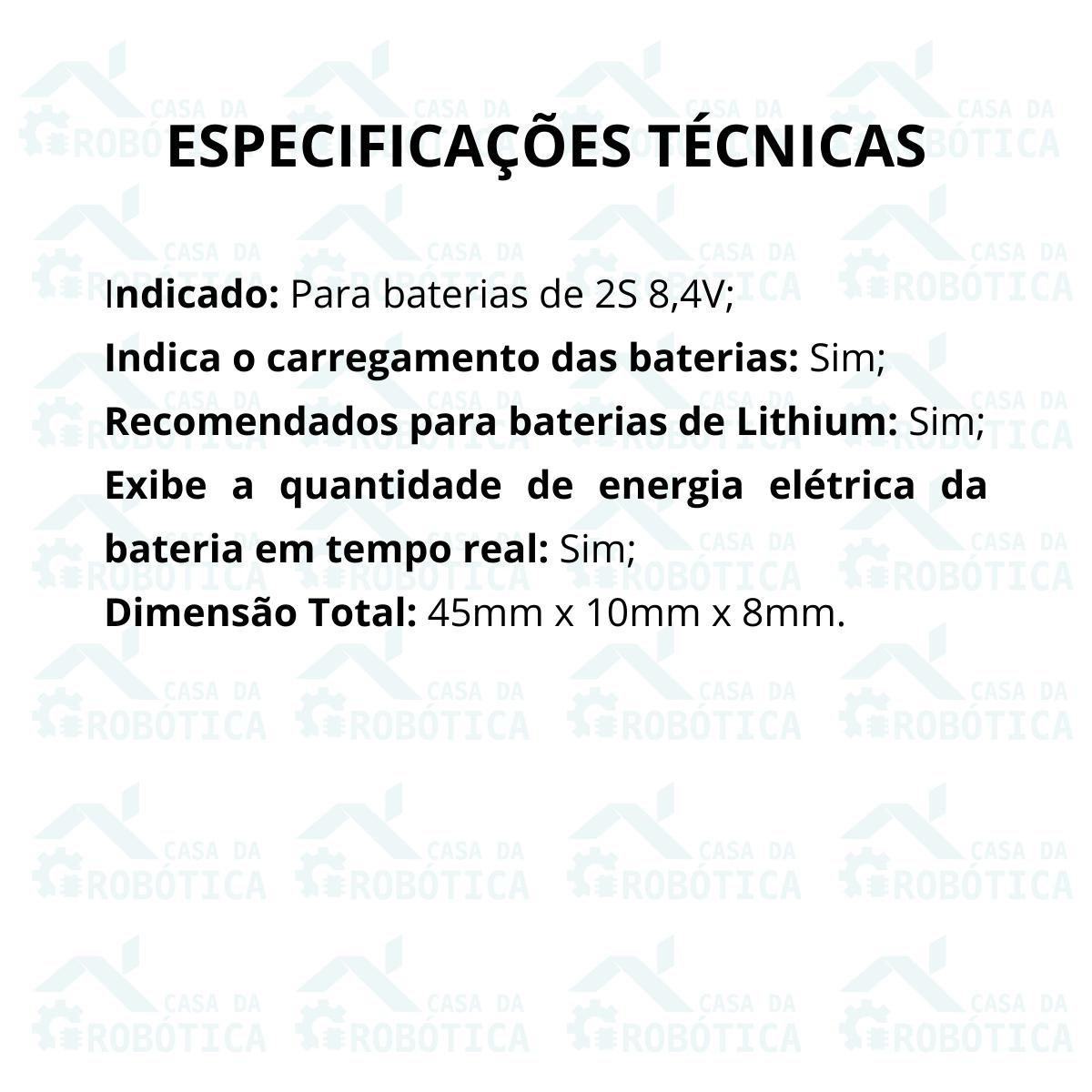 Voltímetro Indicador de Nível de Carga para Baterias 2S 8,4V