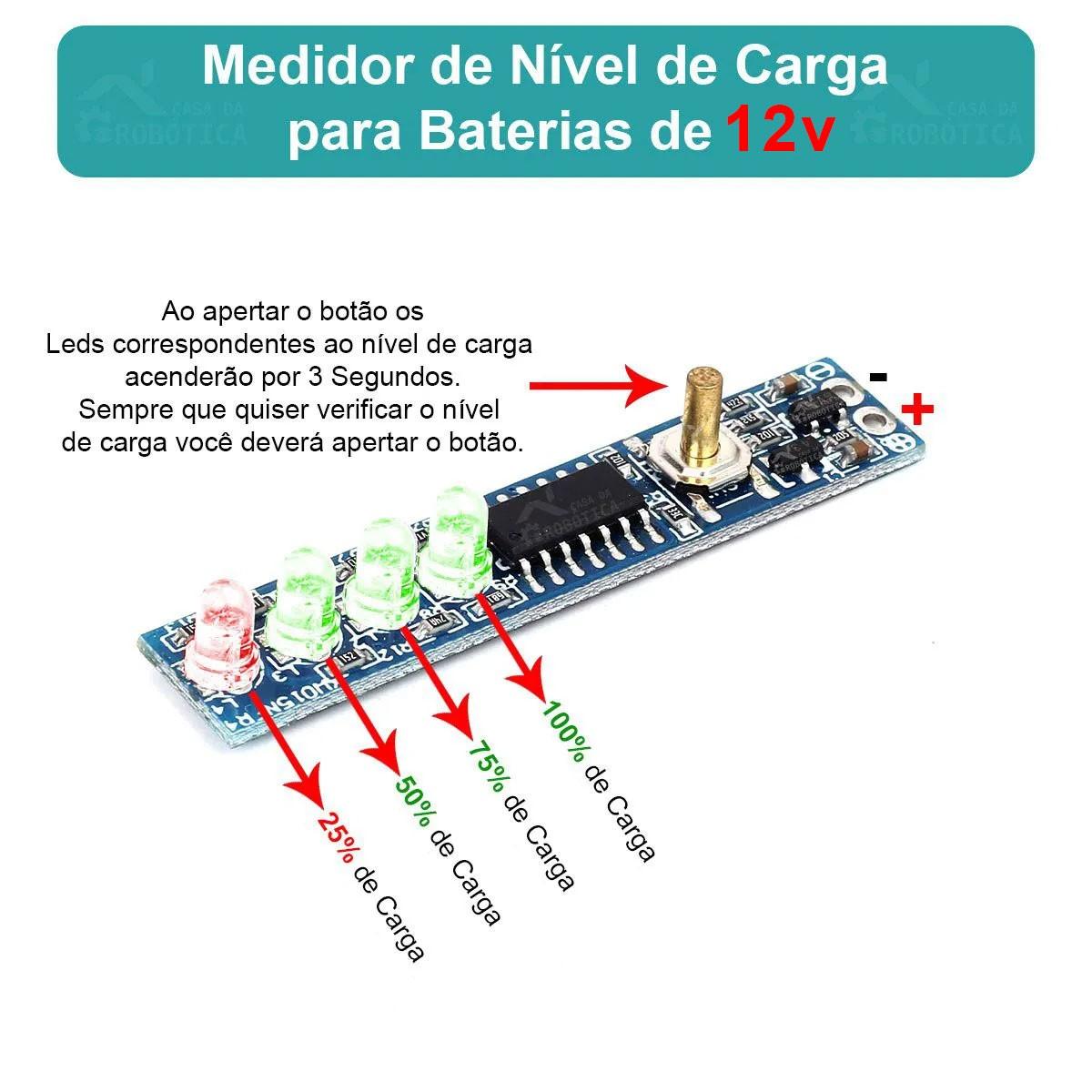 Voltímetro Indicador de Nível de Carga para Baterias de Chumbo 12V