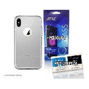 Capa Capinha De Celular Transparente Para iPhone X Apple + Película De Vidro + Kit Limpeza | Material Silicone