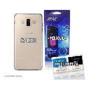 Capa Capinha De Celular Transparente Para Samsung Galaxy J7 Duo + Película De Vidro + Kit Limpeza