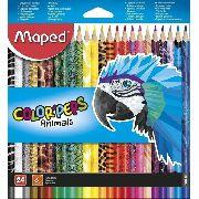 Lápis De Cor Triângular caixa com 24 Cores lapis Maped para colorir