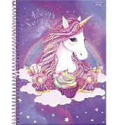 Caderno 1 Mateira Capa Dura Unicornio Espiral Lilás - Foroni